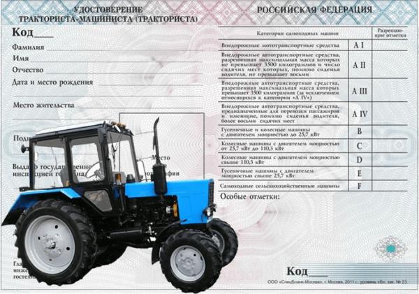 Документы на вождение трактора
